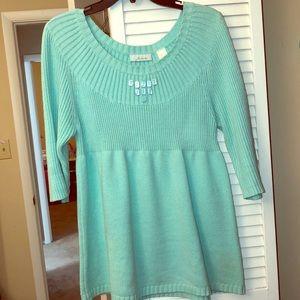 Aqua 3/4 length babydoll sweater w/buttons size L